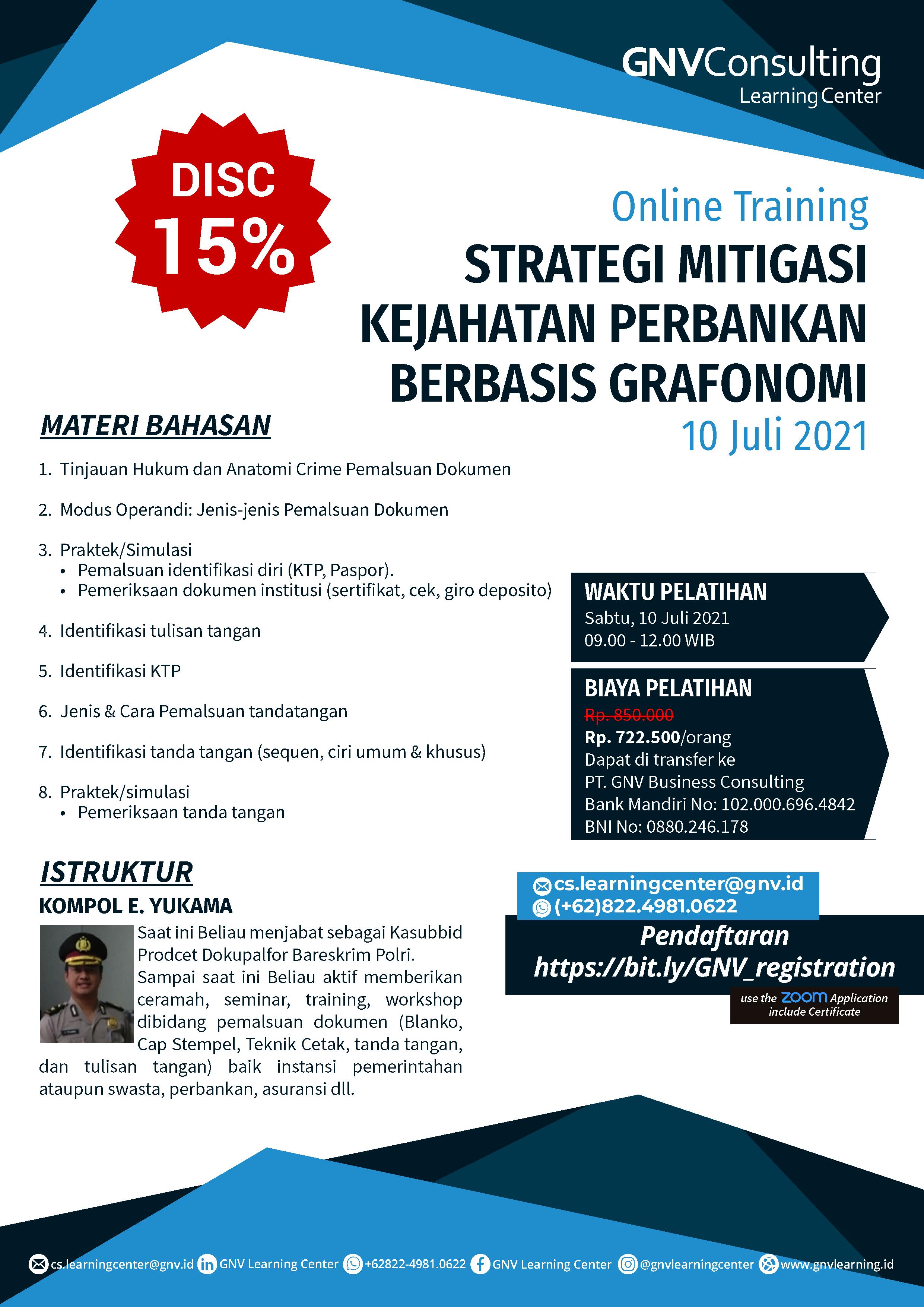 Strategi Mitigasi Kejahatan Perbankan Berbasis Grafonomi – Online Training