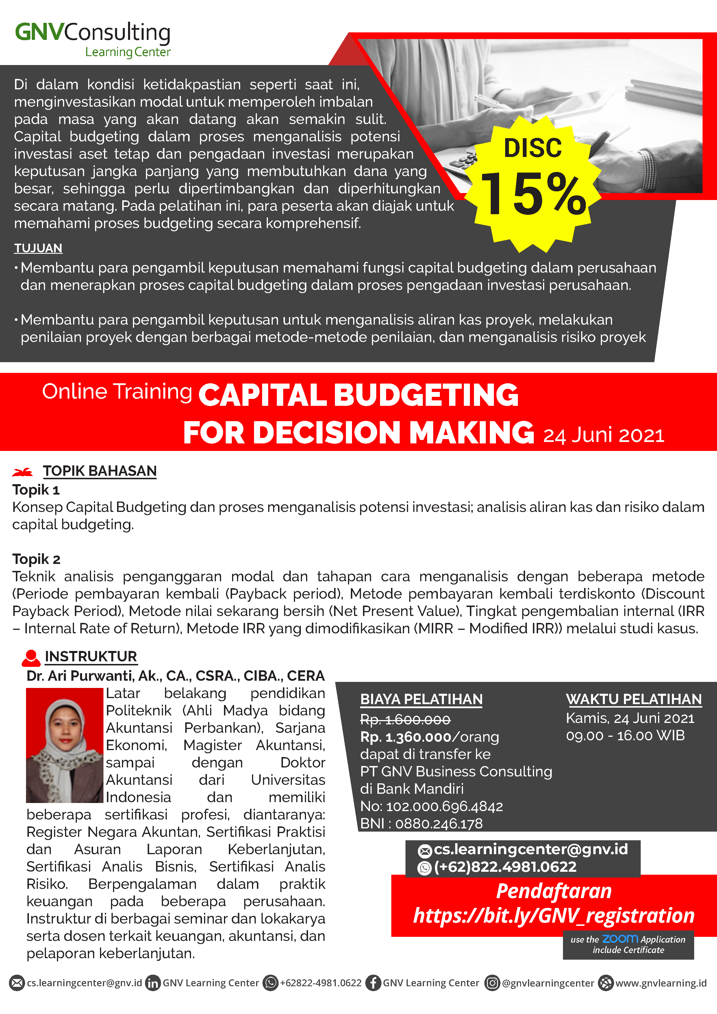 Capital Budgeting for Decision Making – Online Training