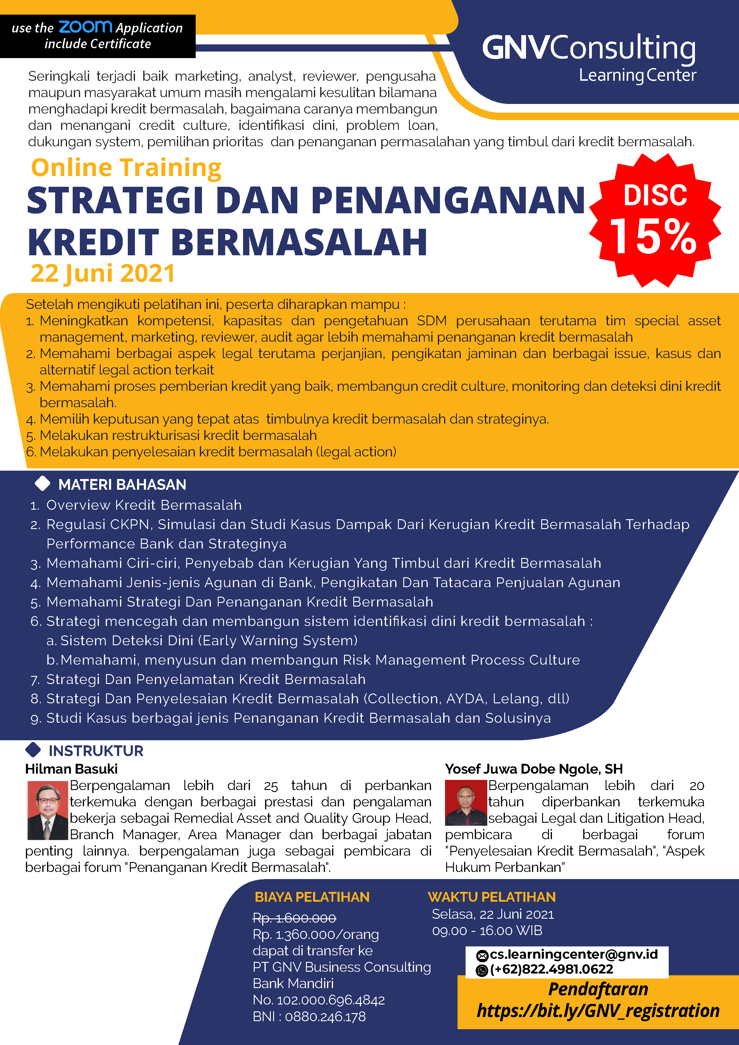 Strategi & Penanganan Kredit Bermasalah – Online Training