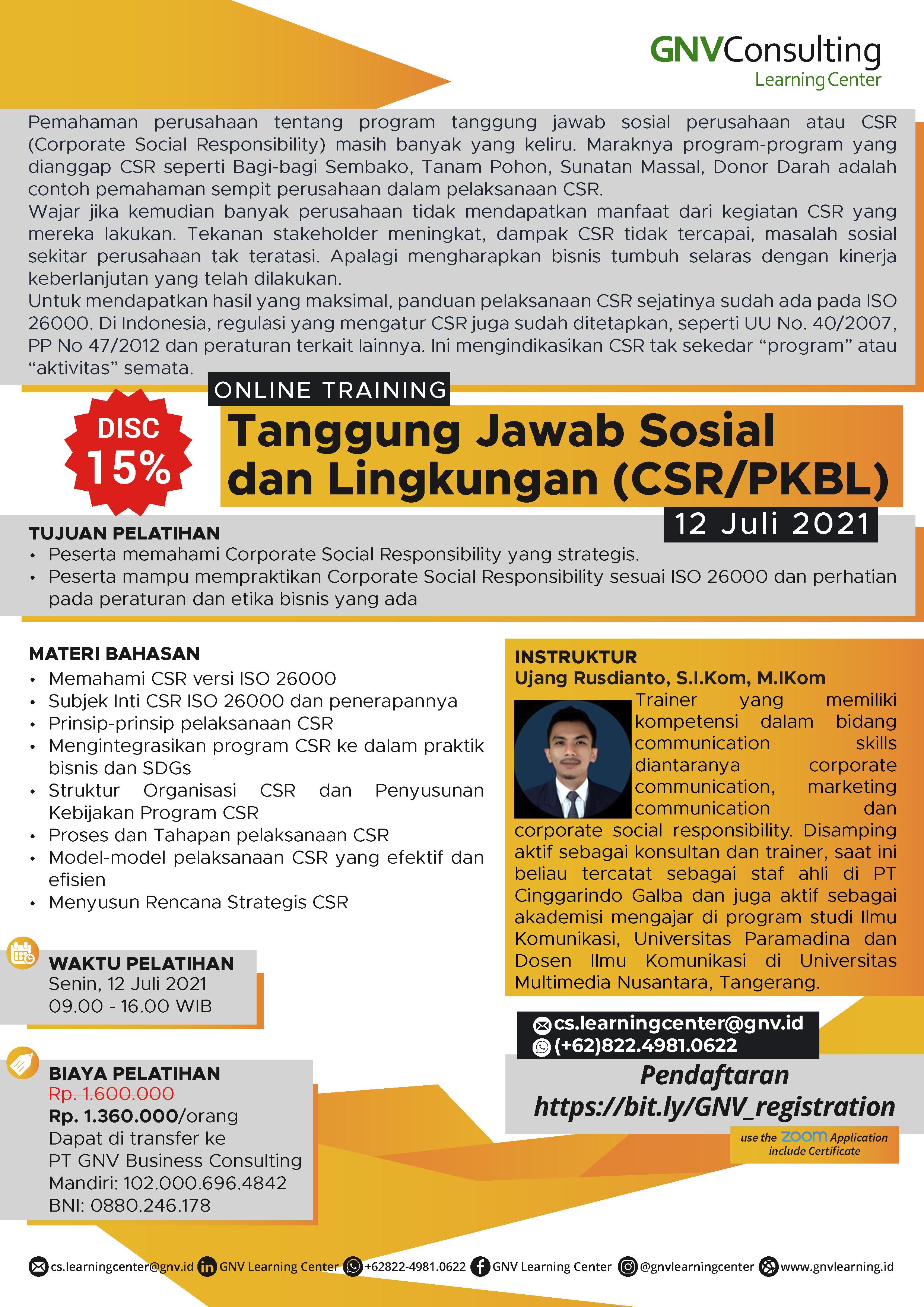 Tanggung Jawab Sosial  dan Lingkungan (CSR/PKBL) – Online Training