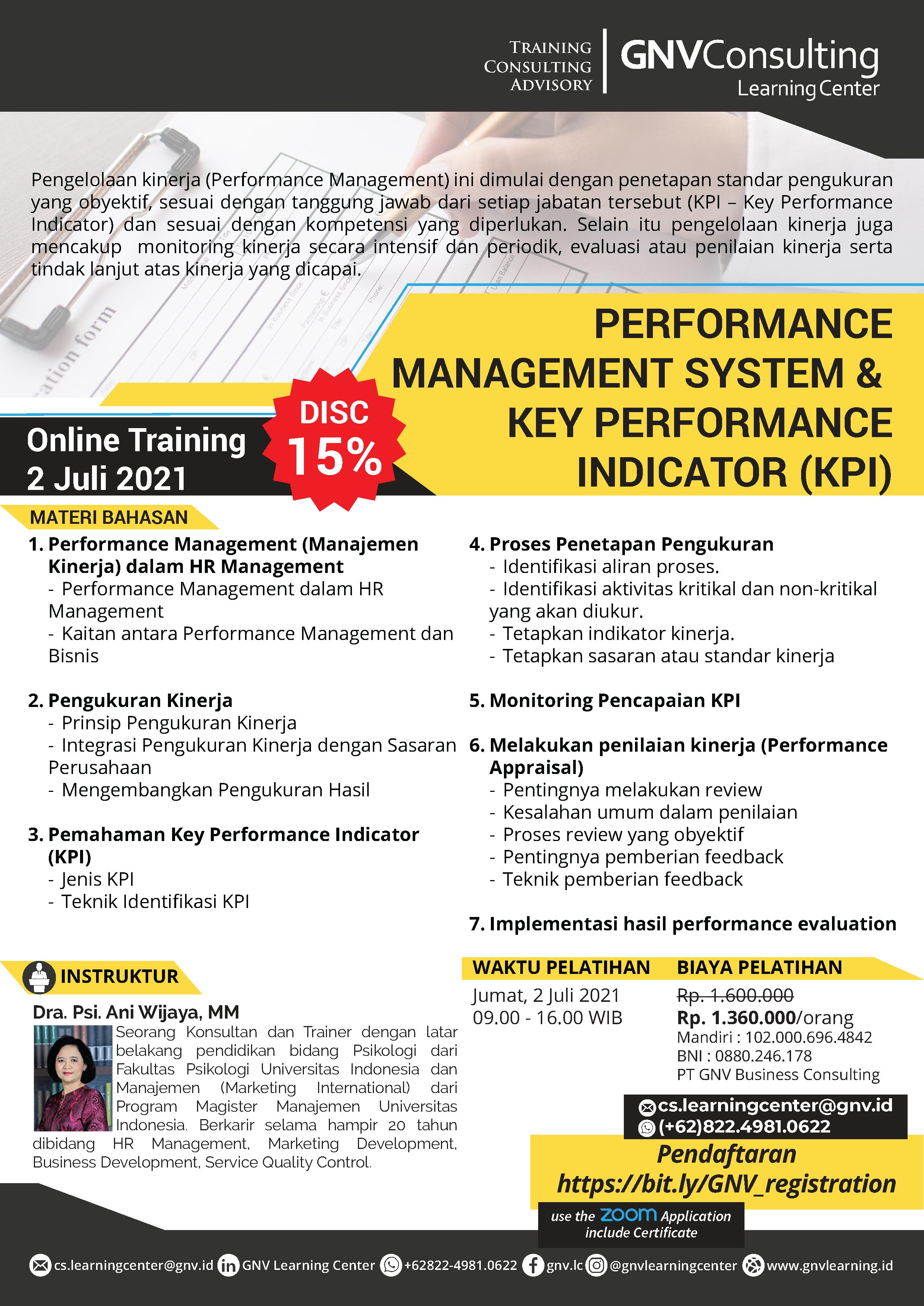 Performance Management System &  Key Performance Indicator (KPI) – Online Training